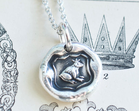 frog prince wax seal necklace