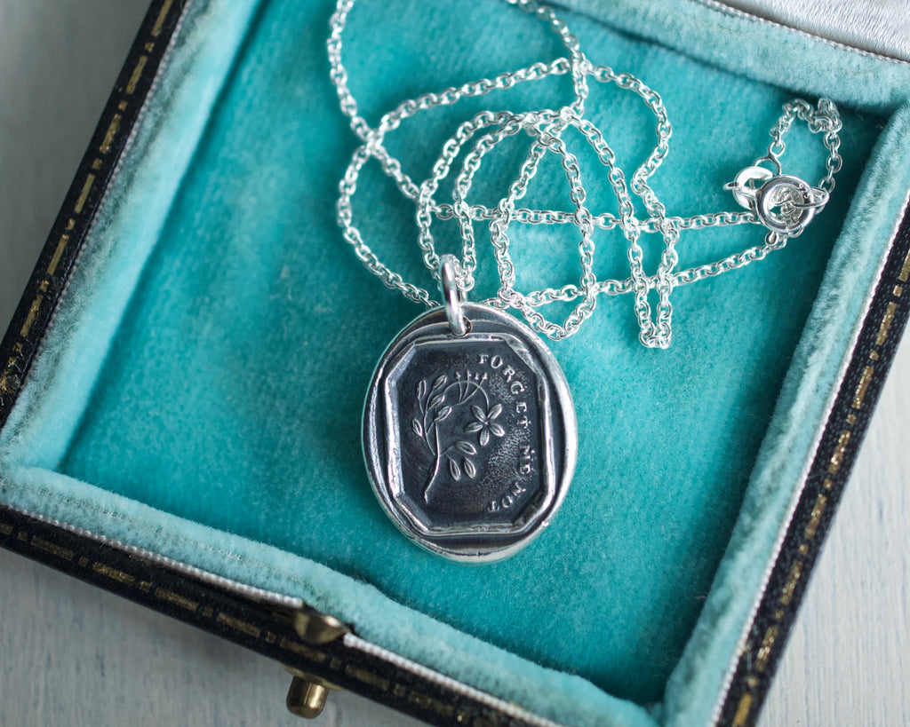 forget me not wax seal necklace