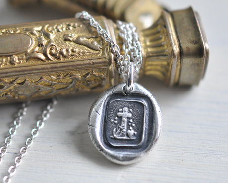 cross wax seal necklace