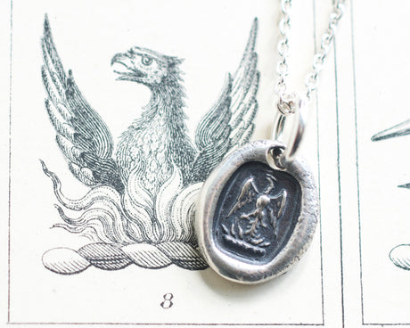 phoenix wax seal necklace