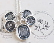 forget me not wax seal necklaces