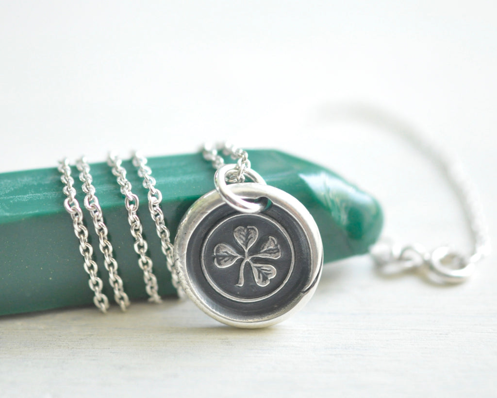 four leaf clover wax seal necklace