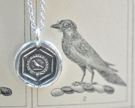 raven wax seal necklace