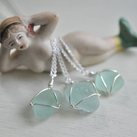 sea foam sea glass necklace