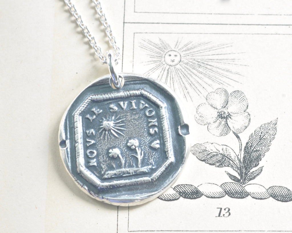 sun and flowers wax seal necklace