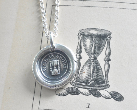 hourglass wax seal necklace
