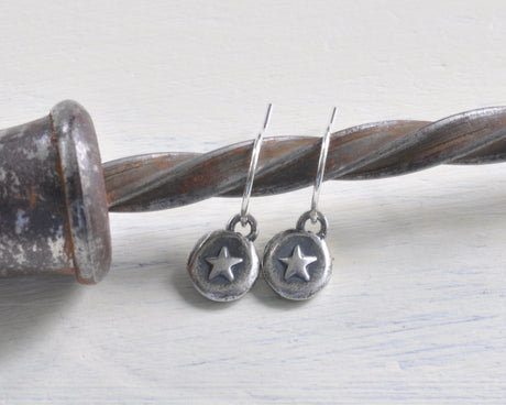 tiny star wax seal earrings - shine on