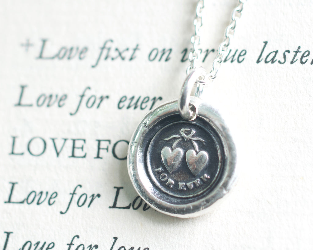 two hearts for ever wax seal necklace