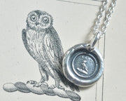 owl wax seal necklace