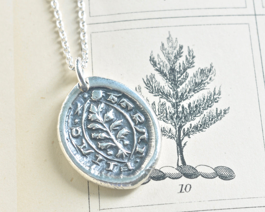 evergreen wax seal necklace