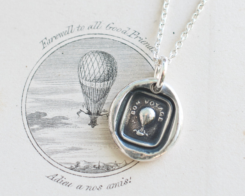 hot air balloon wax seal necklace
