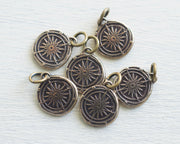 bronze compass wax seal necklace charm
