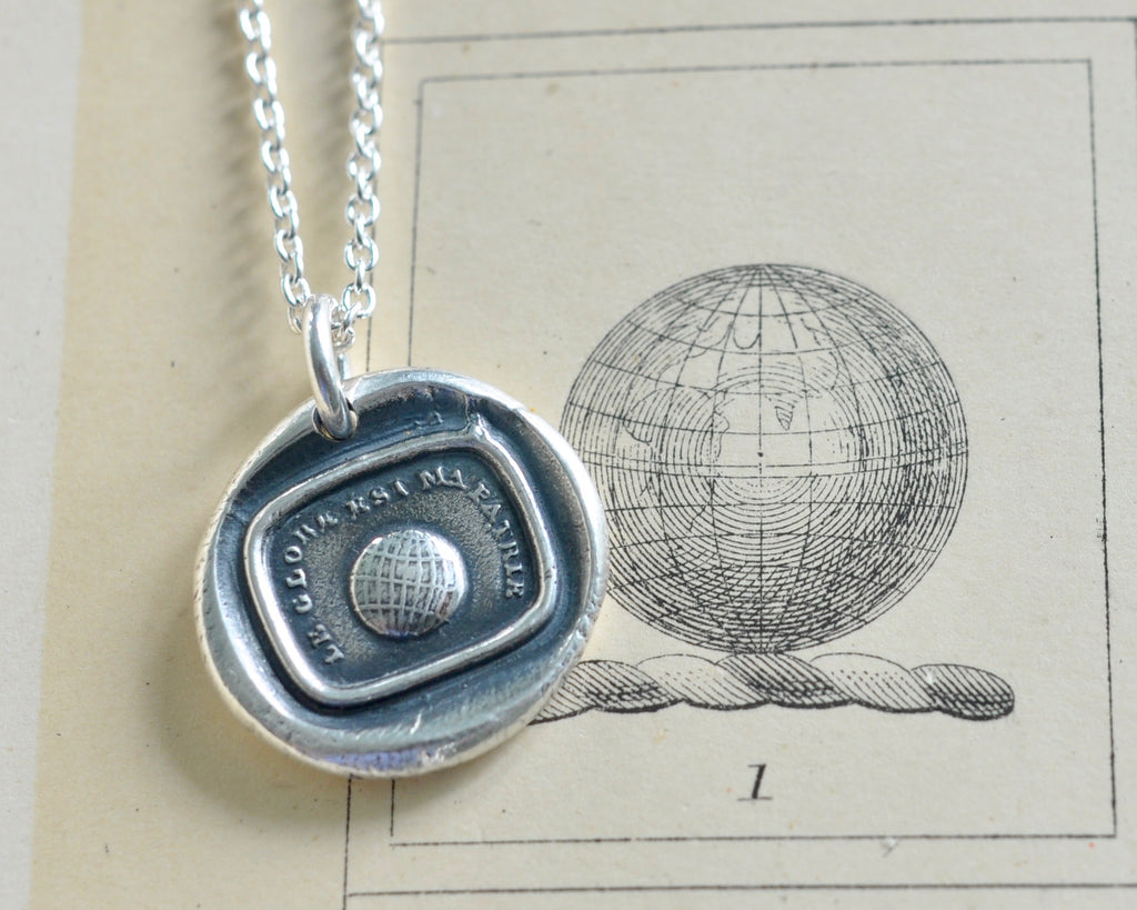 world globe wax seal necklace