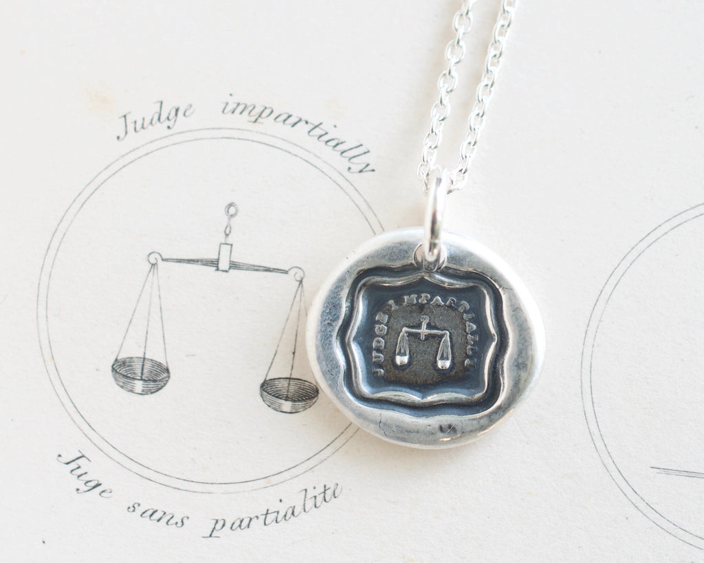 scales of justice wax seal necklace