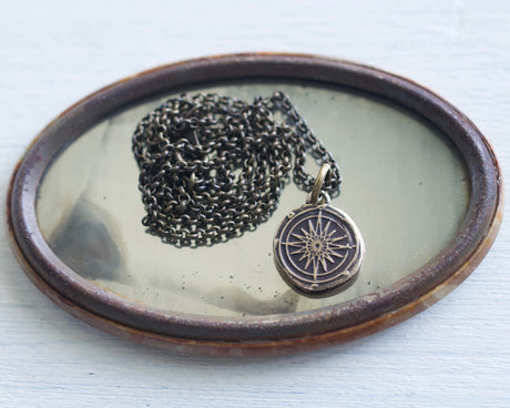 bronze compass wax seal necklace