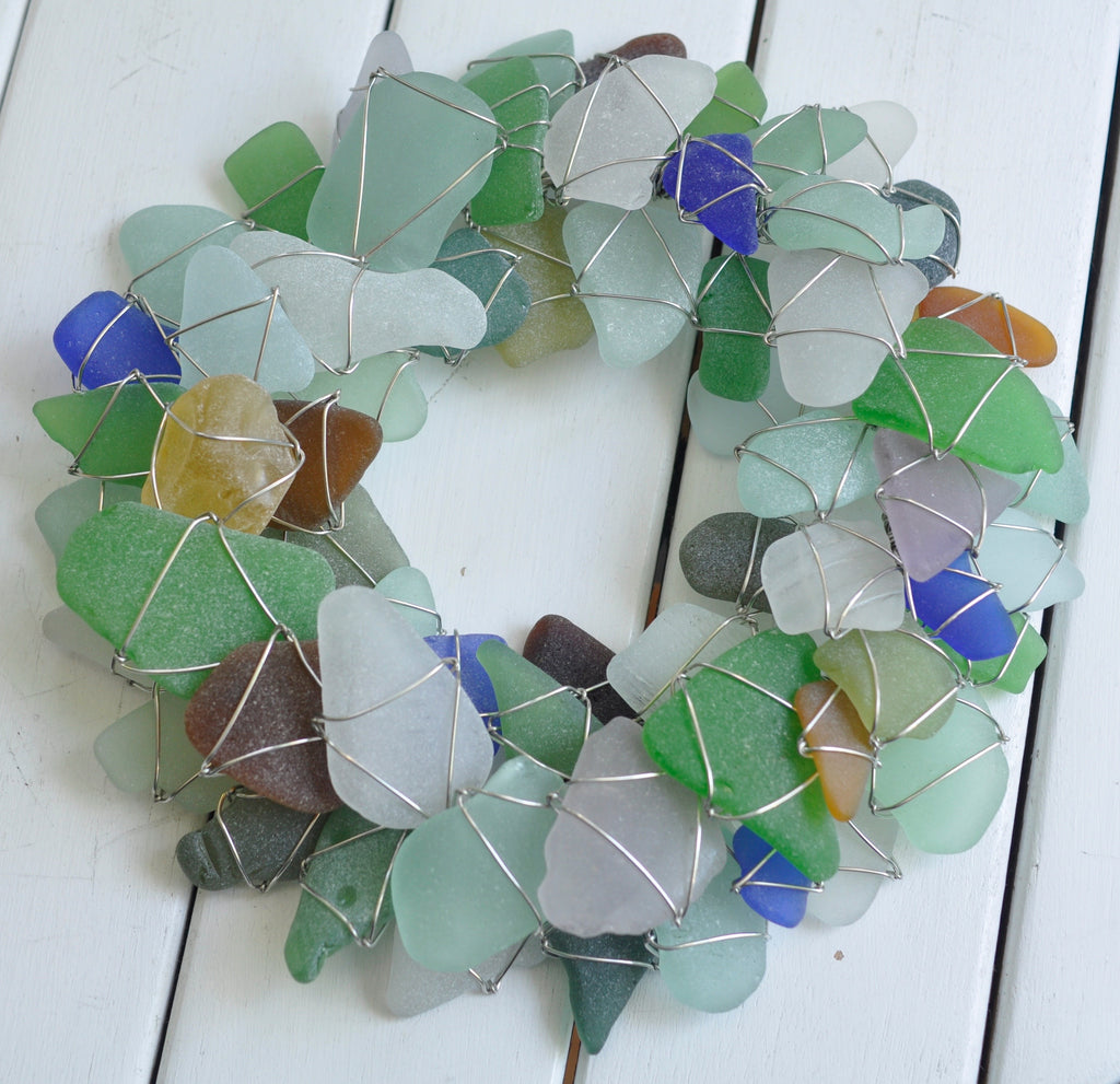sea glass wreath - holiday greens or multi color
