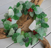holiday greens sea glass wreath