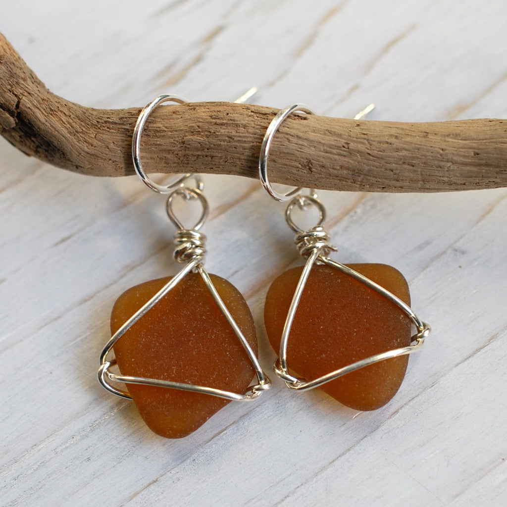 sea glass earrings in brown