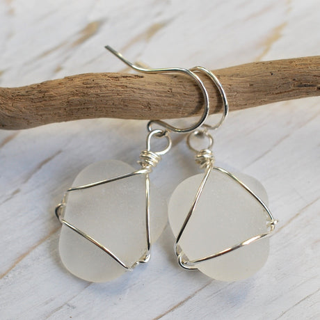 white sea glass earrings