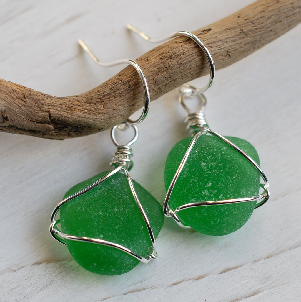 sea glass earrings in green