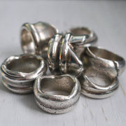 silver sea glass rings