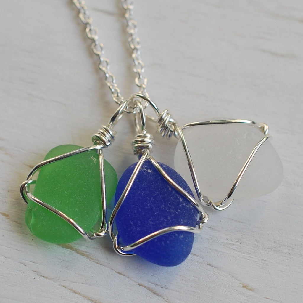 sea glass charm necklace in Earth