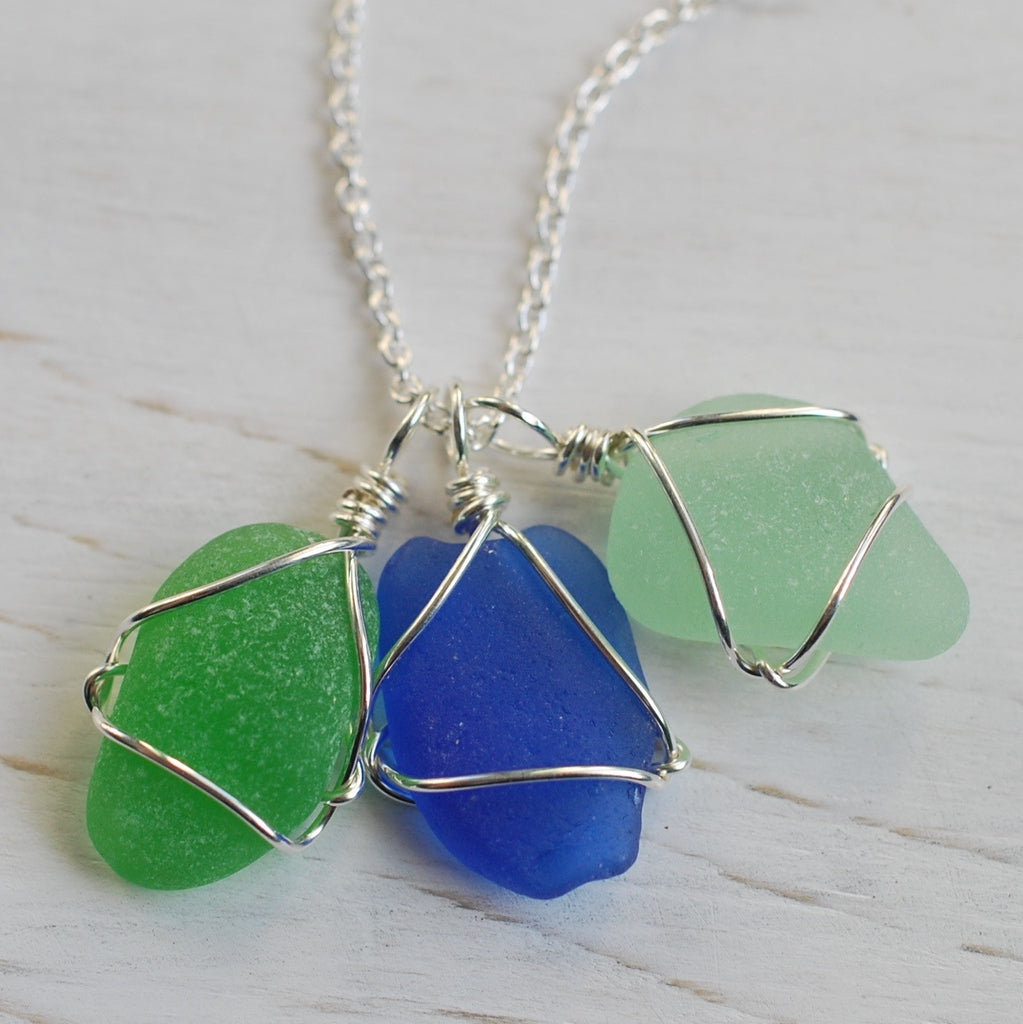 trio of sea glass charm necklace in Atlantic