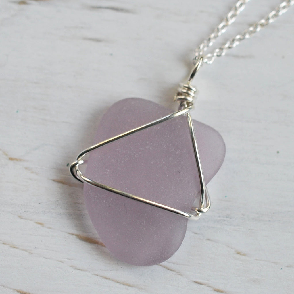 lavender sea glass necklace pendant