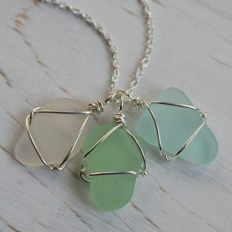 sea glass charm necklace in surf