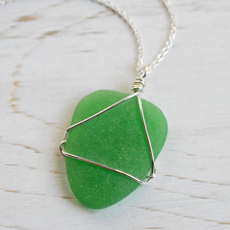 sea glass necklace pendant in green