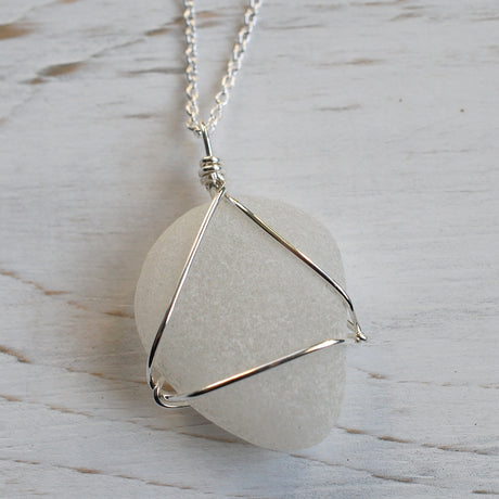 white sea glass necklace pendant