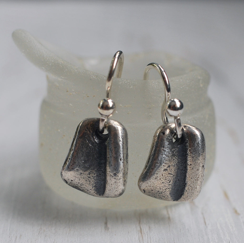 sterling silver sea glass earrings