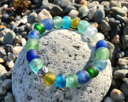 recycled glass bead bangle bracelet