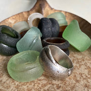 sterling silver sea glass bottleneck ring