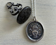 crowned skull wax seal pendant