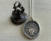 crowned skull wax seal necklace