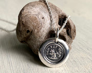 tree stump wax seal necklace