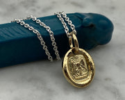 gold phoenix wax seal necklace
