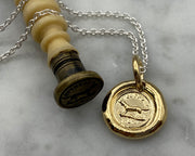 gold dog wax seal jewelry