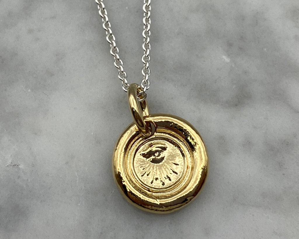 gold eye wax seal necklace