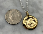 gold frog prince wax seal pendant