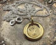 gold dragon wax seal necklace