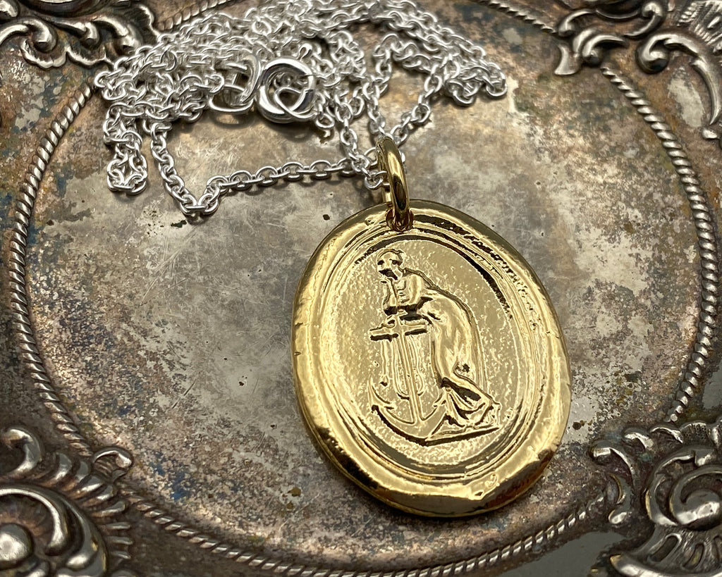 gold faith leaning on hope necklace