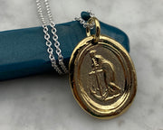 gold anchor wax seal necklace