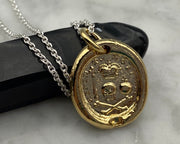 gold memento mori wax seal necklace