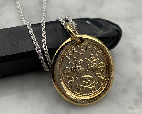 gold skull wax seal necklace