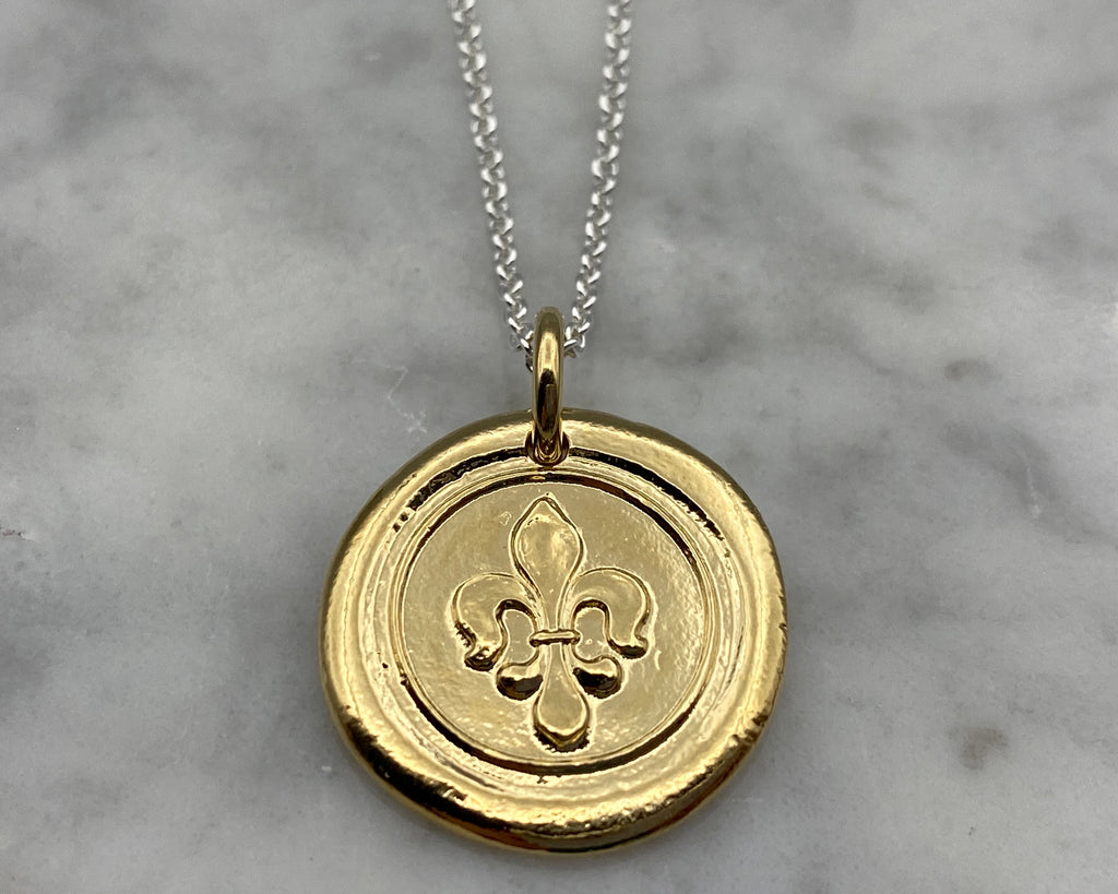 gold fleur de lis wax seal necklace