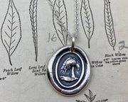 weeping willow wax seal necklace - wax seal jewelry