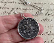 french scales of justice wax seal necklace