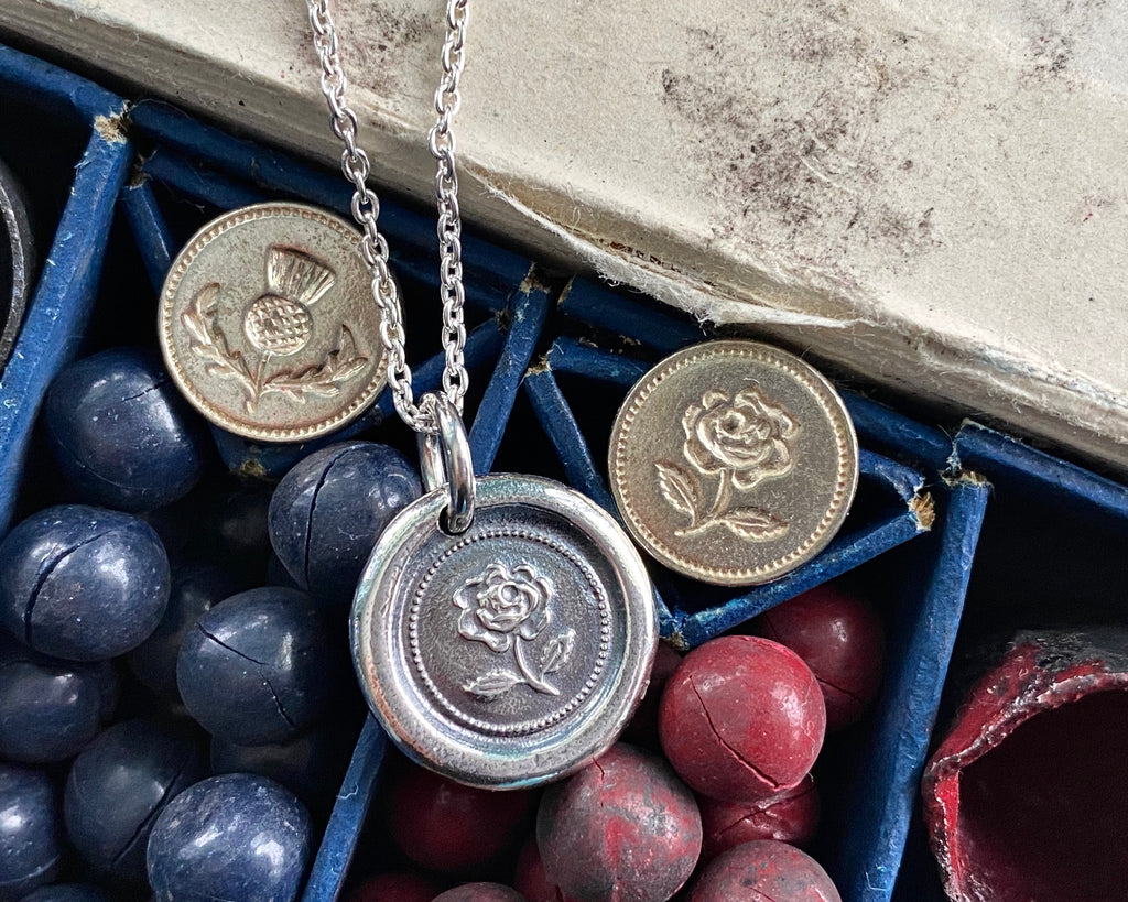 English rose wax seal necklace